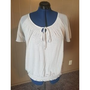 White Blouse with Elastic Waist